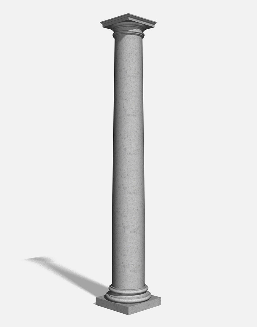Column Tapered Base 2 And Cap 2 Bespoke Unitex Render